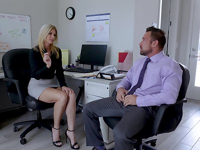 Sexy India Summer enjoys sex with her colleague in her office
