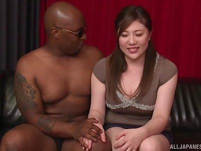 Black dude destroys wet pussy of Nishiyama Asahi with his huge dick