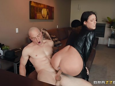 The black leather makes Angela White hornier for her friend's dick