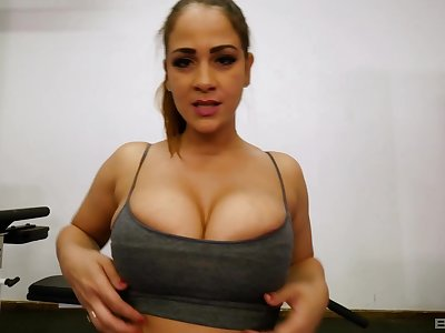 POV titjob and a blowjob from busty sporty babe Miss Raquel
