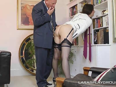 Mature amateur brunette Paul strips in the office and teases her boss