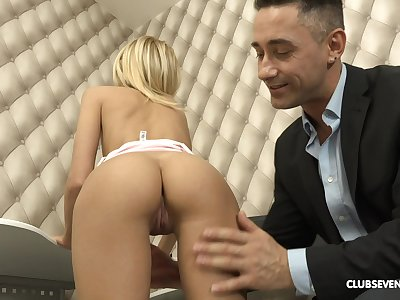 Sexy blonde Missy Luv enjoysrough sex with her component in his office