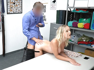 Busted blond hair lady 18 years old safe-blower on all fours by the officer