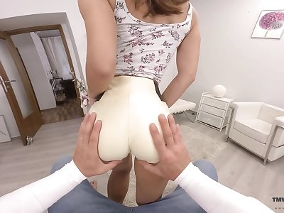 Slender chick with juicy booty Mina is impaled beyond everything a chubby cock about hot VR porn