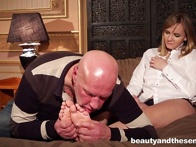 Naughty old boss makes his secretary Lucette Nice have sex encircling him