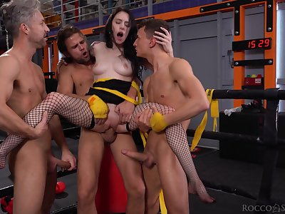 Wild complain in fishnet stuff Anna De Ville is really purchase hard double penetration